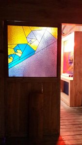 stained glass art at single fin's bali